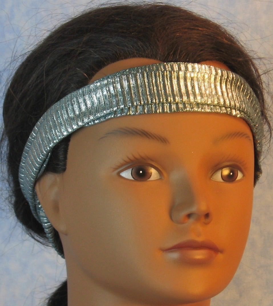 Headband-Emerald Silver Crinkle Ribbed Knit-Youth L-XL