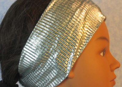 Headband-Emerald Silver Crinkle Ribbed-right