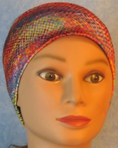 Headband-Pink Blue Squares Squiggle-front
