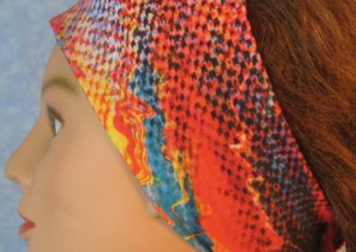 Headband-Pink Blue Squares Squiggle-left