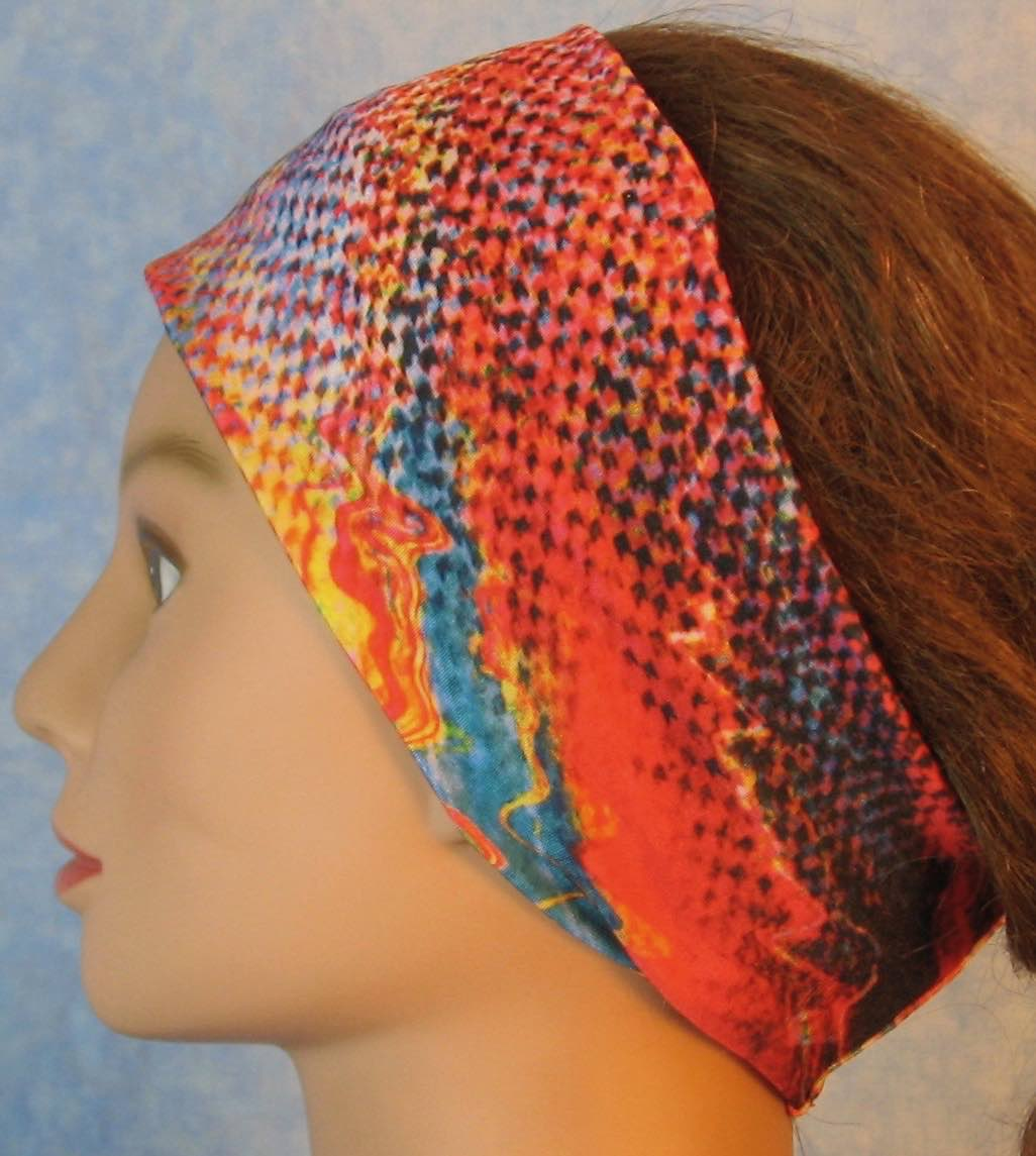 Headband-Pink Blue Squares Squiggle Performance Knit-Adult M