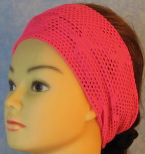 Headband-Pink Fishnet with Stars-front left