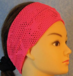Headband-Pink Fishnet with Stars-right