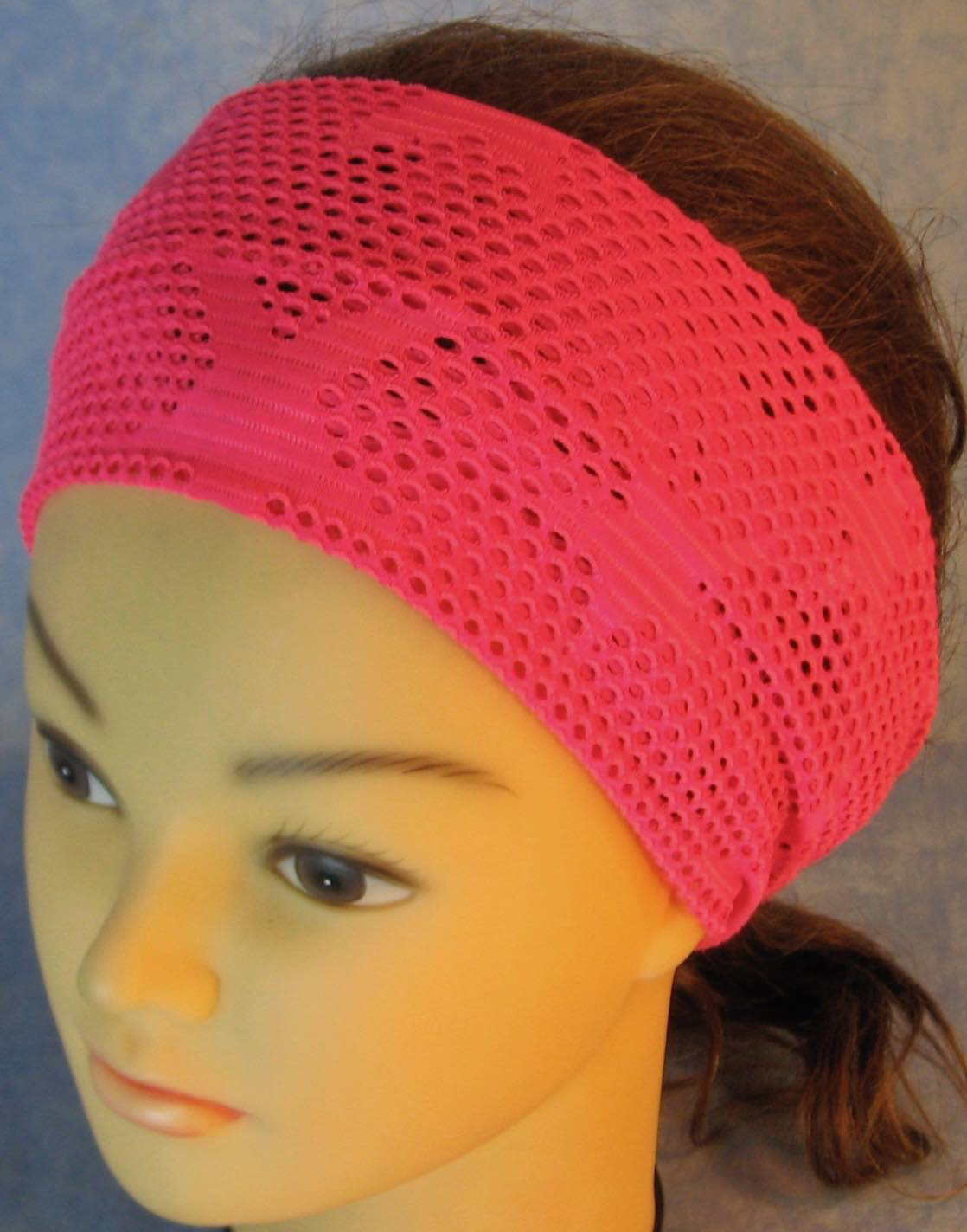 Headband-Pink Fishnet with Stars Knit-Adult M