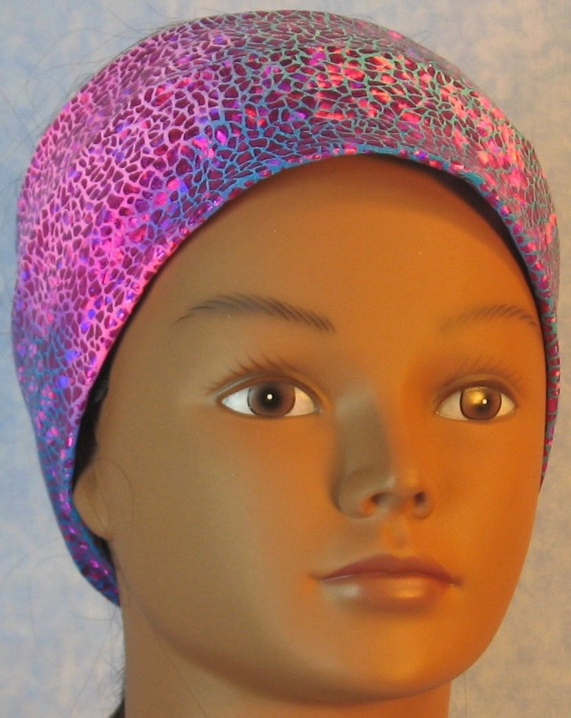 Headband-Pink Sparkle on Turquoise Pink Tie Dye Performance Knit-Adult S