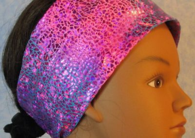 Headband-Pink Sparkle Flakes on Turquoise Pink Tie Dye-left