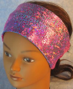 Headband-Pink Sparkle Flakes on Turquoise Pink Tie Dye-top