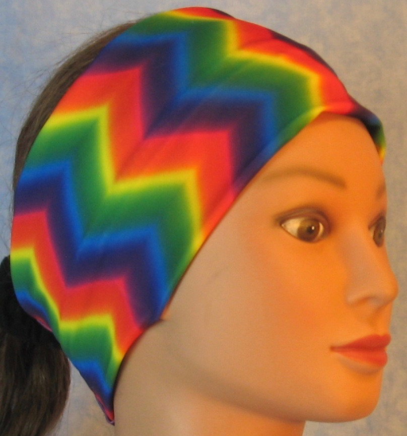 Headband-Rainbow Chevron Performance Knit-Adult M