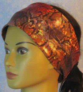 Headband-Red Gold Gray Snake-left