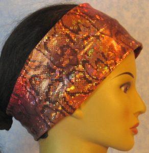 Headband-Red Gold Gray Snake-right