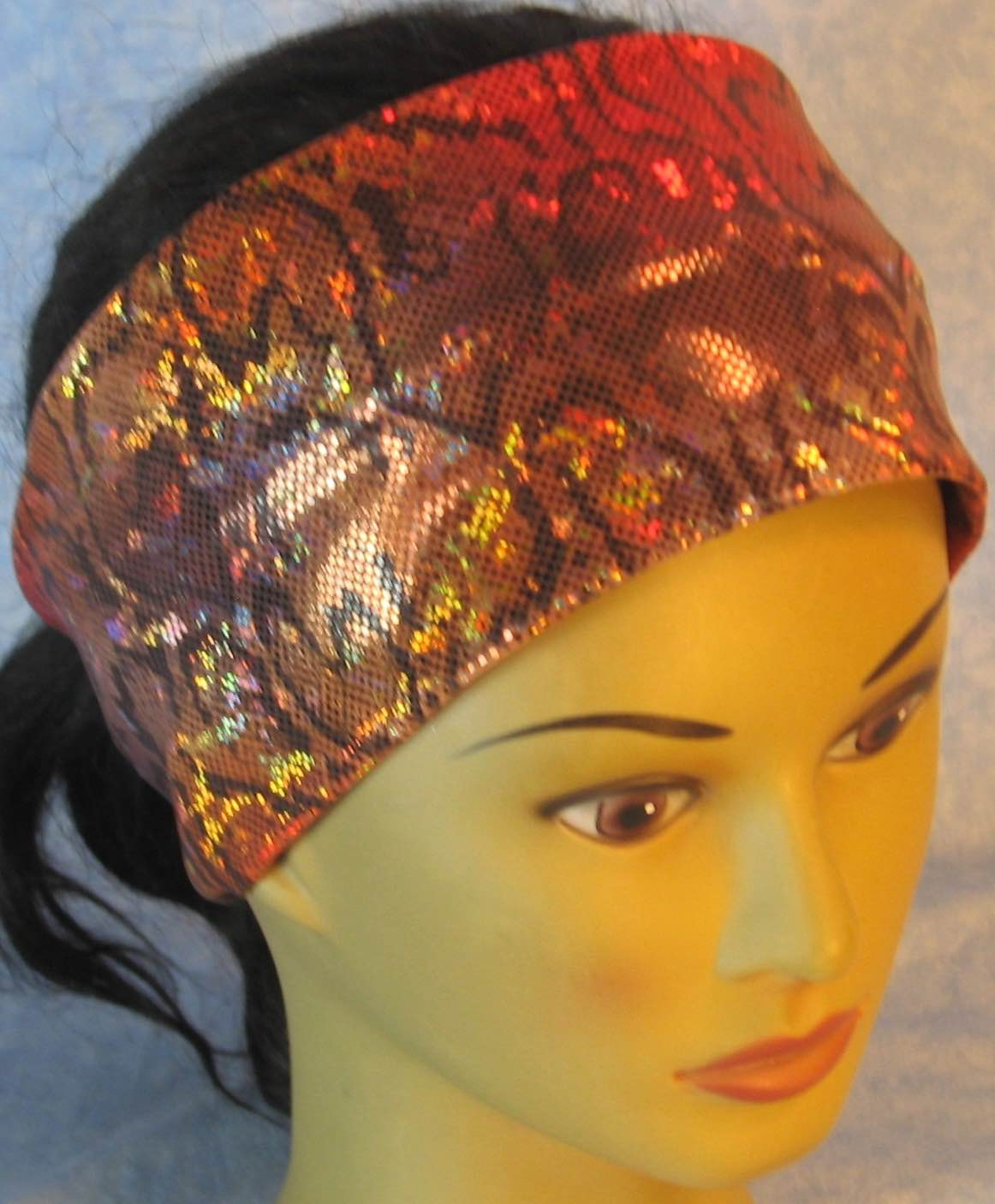 Headband-Red Gold Gray Snake Performance Knit-Adult M