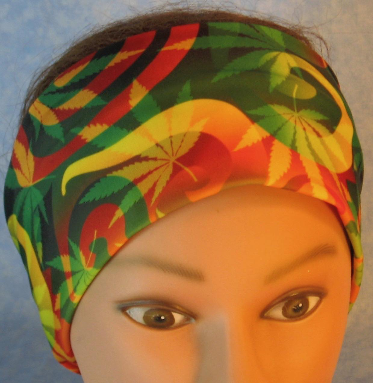 Headband-Red Green Yellow Marijuana Performance Knit-Adult M