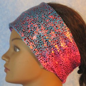Headband-Red Sparkle Flakes on Turquoise Pink Tie Dye-left