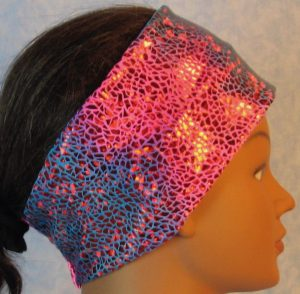 Headband-Red Sparkle Flakes on Turquoise Pink Tie Dye-right