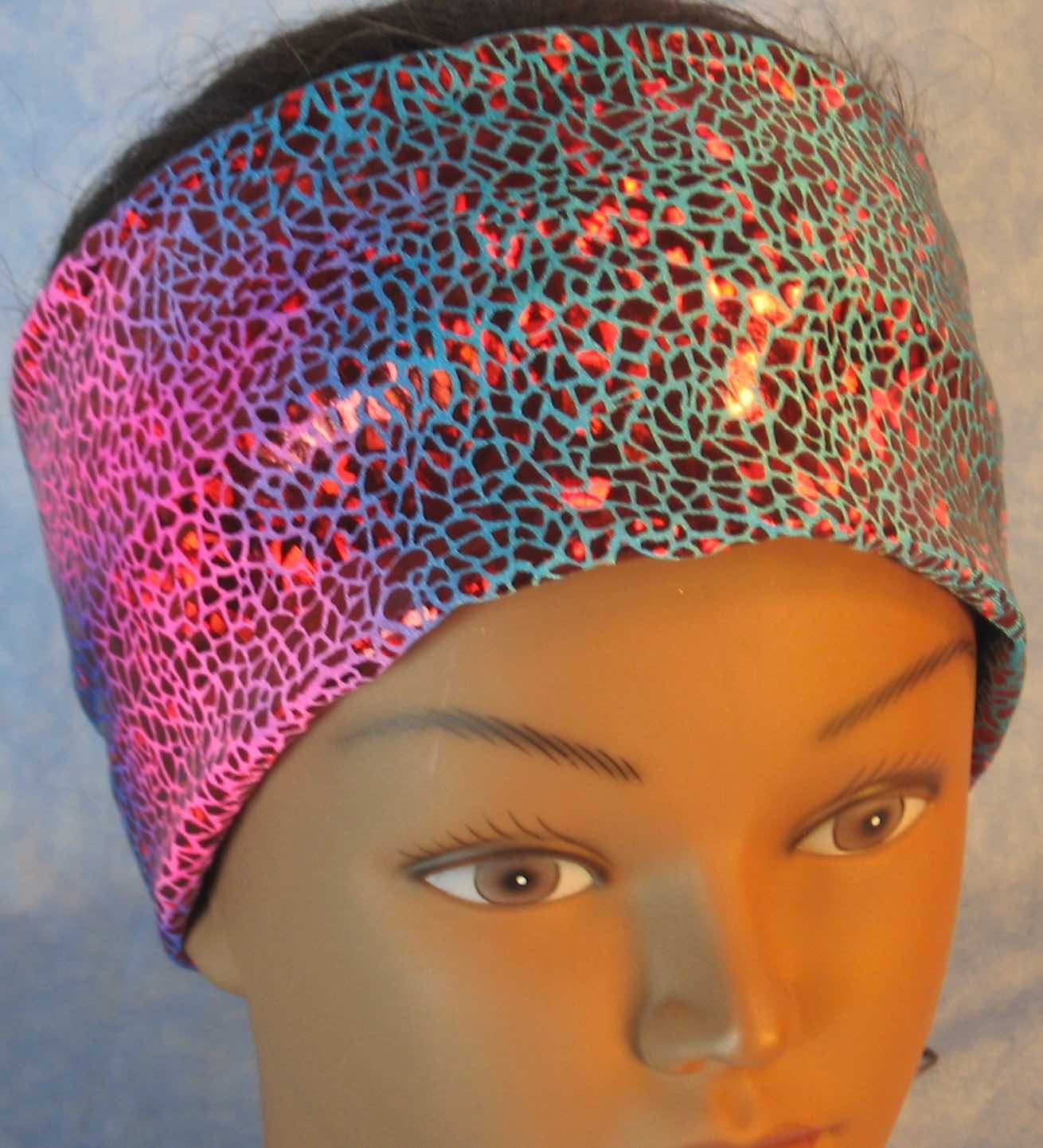 Headband-Red Sparkle on Turquoise Pink Tie Dye Performance Knit-Adult S