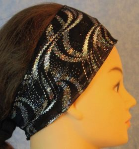 Headband-Silver Waves On Black Stretchy Tulle-right