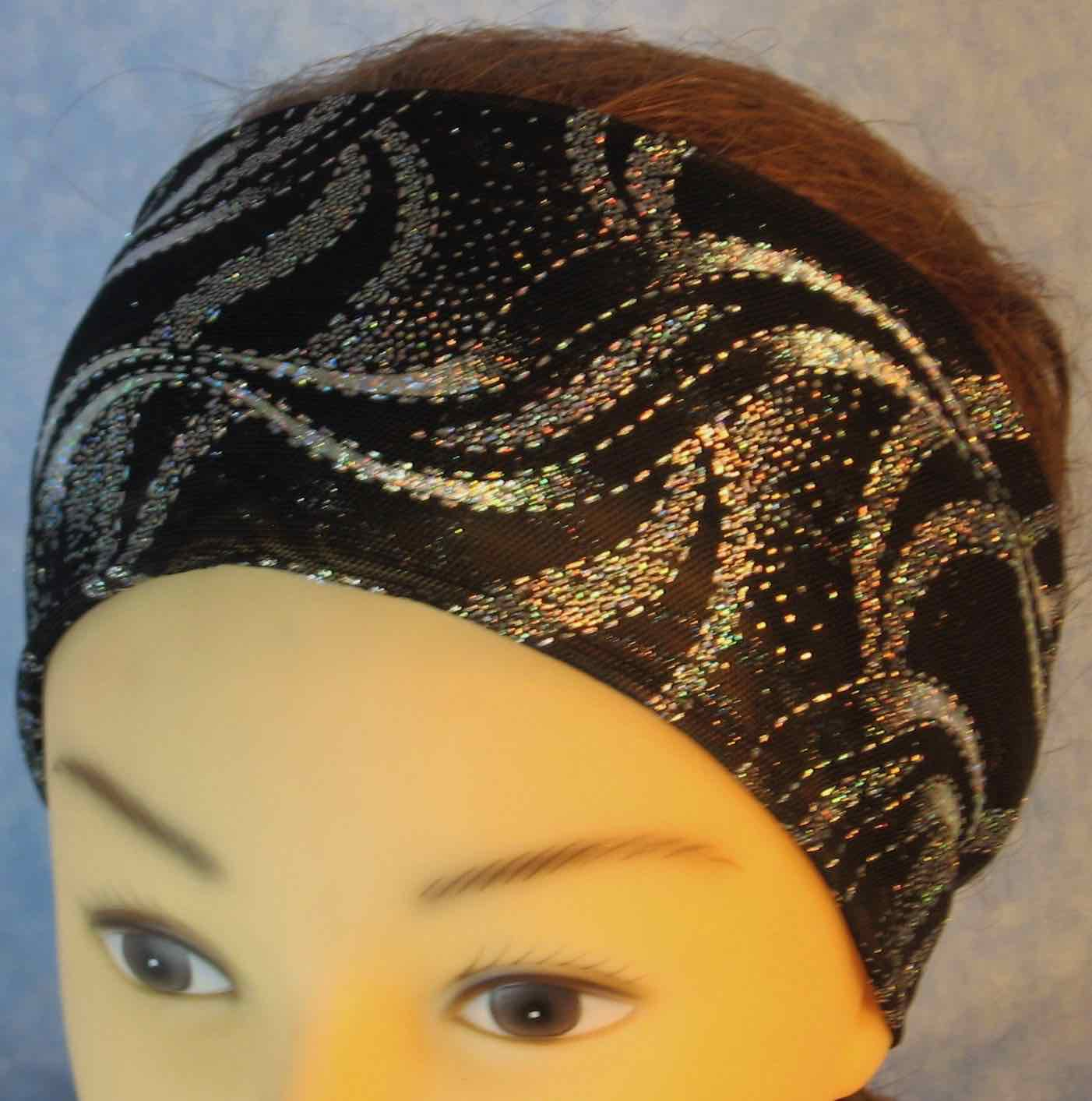 Headband-Silver Waves On Black Stretchy Tulle-Youth L-XL