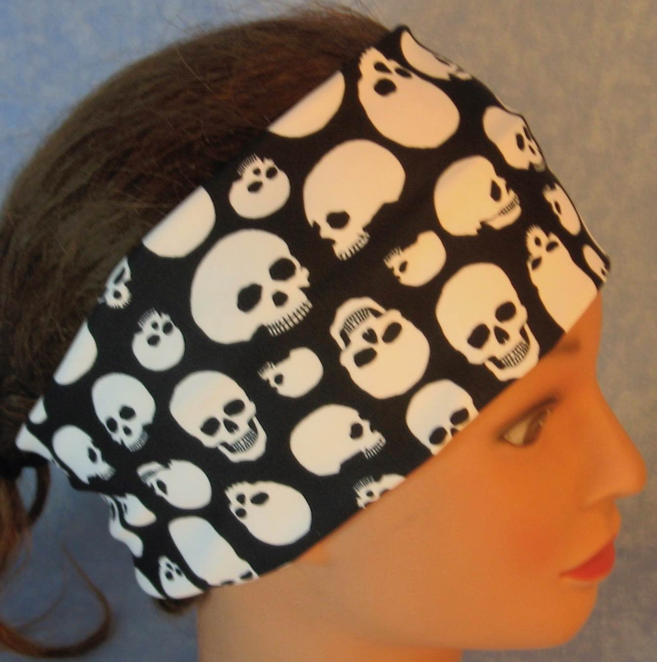 Headband-Skulls on Black Performance Knit-Adult S