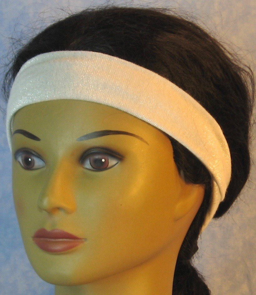 Headband-White With Silver Knit-Adult M