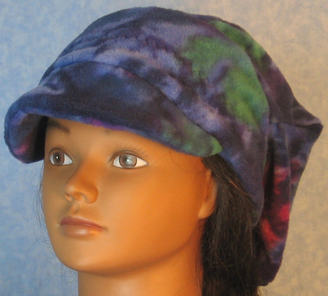 Newsboy Hat in Blue Purple Green Motley-Adult 3XL
