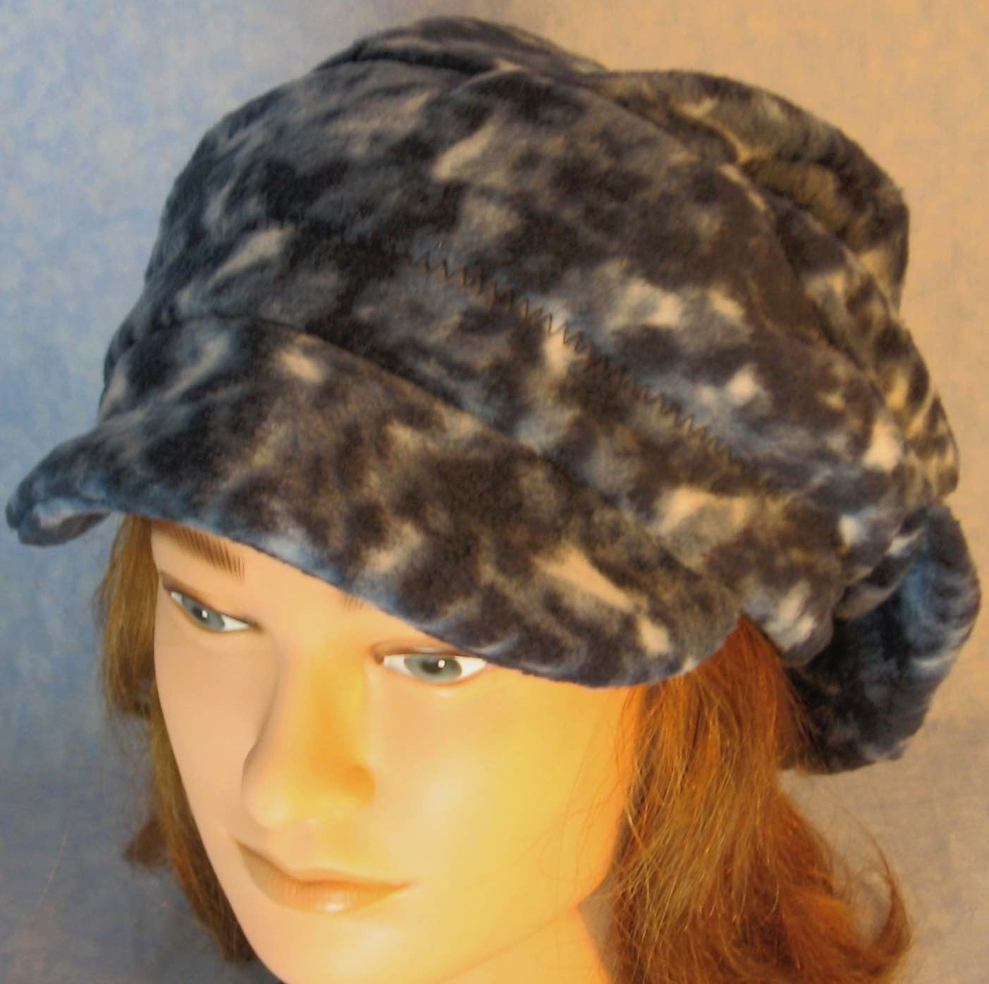 Newsboy Hat in Newsboy Hat in Navy Blue Motley-Adult L
