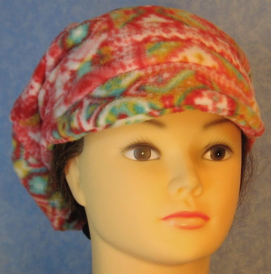 Newsboy Hat in Red Green White Patchwork Lines-Adult S