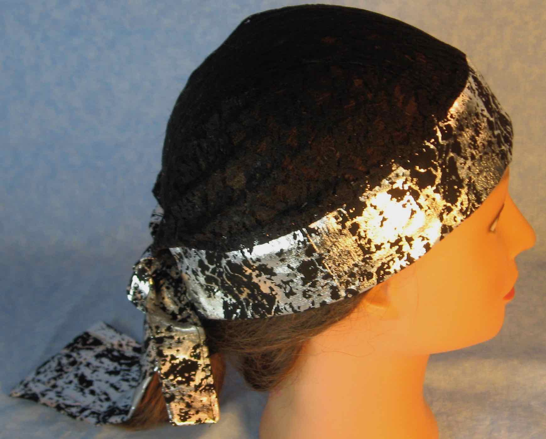 Do Rag in Black Silver Crinkle with Black Lace Crown-Adult M-XL