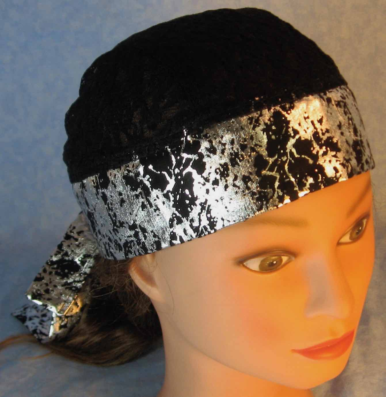 Do Rag In Black Silver Crinkle With Black Lace Crown Adult