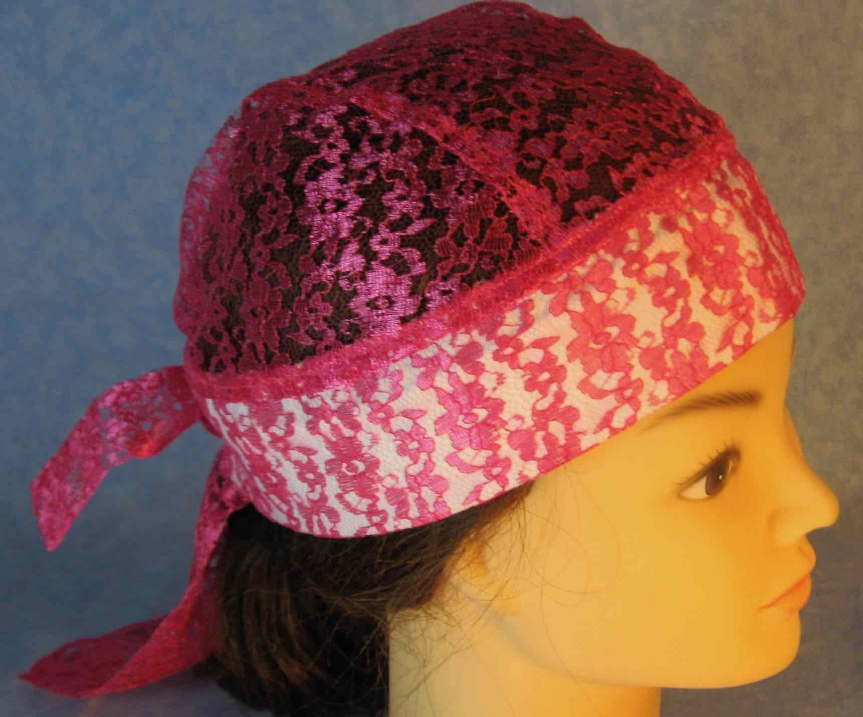 Do Rag in Pink Floral Lace-Adult M-XL