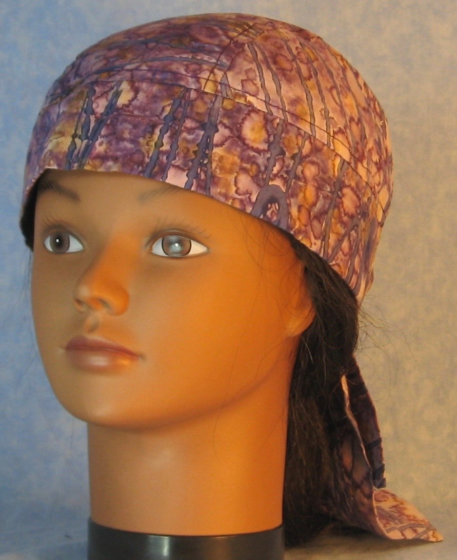 Do Rag in Purple Tan Blue Stripe Dyed-Adult M-XL
