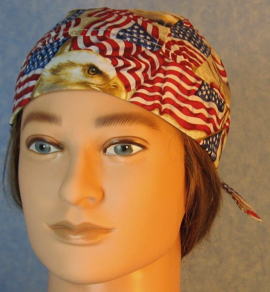 Do Rag in Red White Blue Flag Eagle Head-Adult M-XL
