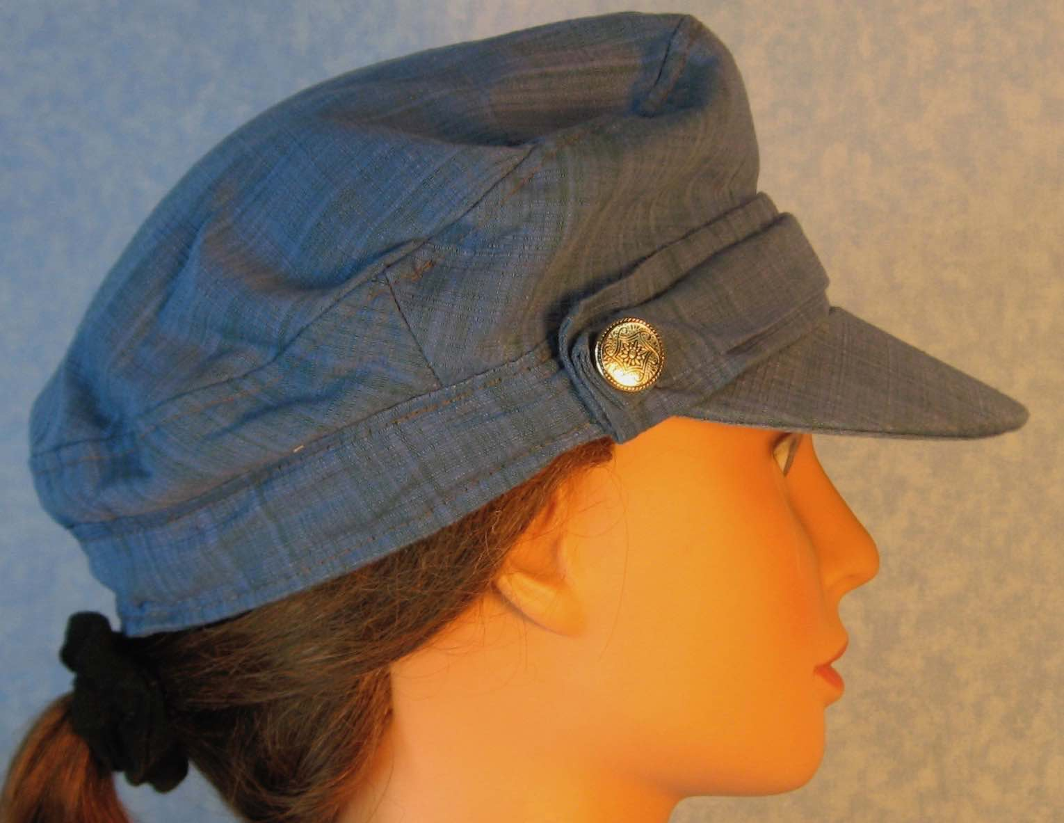 Fisherman Cap in Blue with Gray Green Suiting - Adult S-L