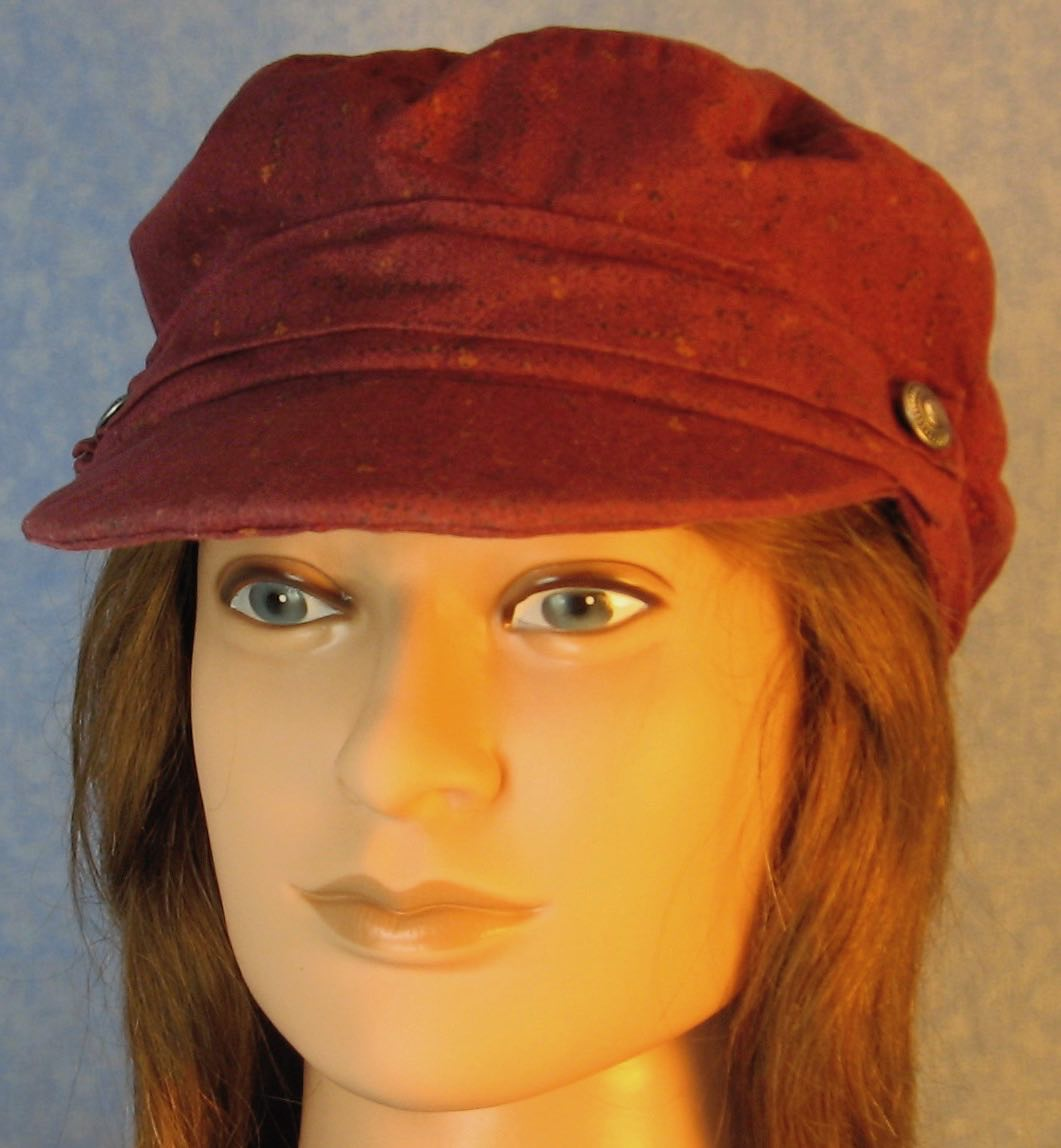 Fisherman Cap in Burgundy with Black Rust Marks - Adult S-L