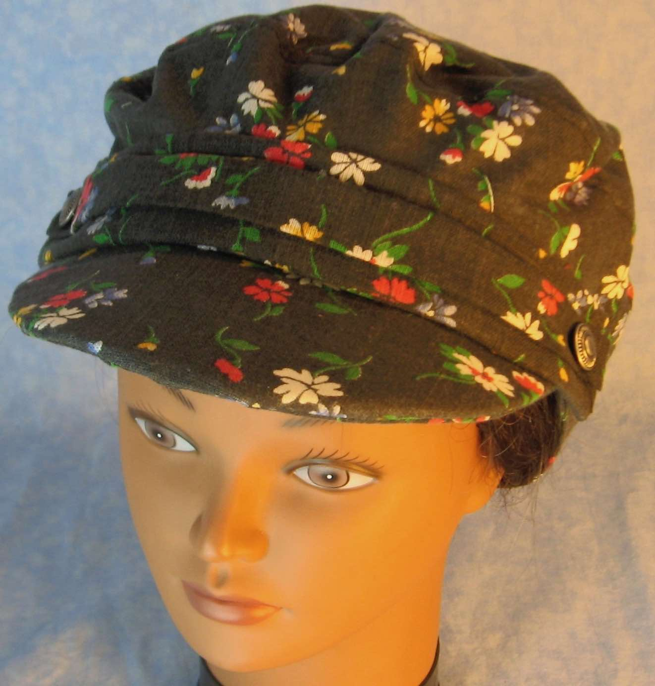 Fisherman Cap in Red White Blue Yellow Flowers on Black Linen - Adult S-L