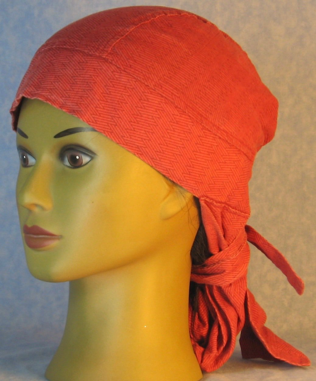 Hair Bag Do Rag in Brown Basket Line Zigzag on Rust Red - Adult 1XL-3XL