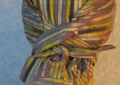 Hair Bag-Gray Purple Green Yellow Stripe-back