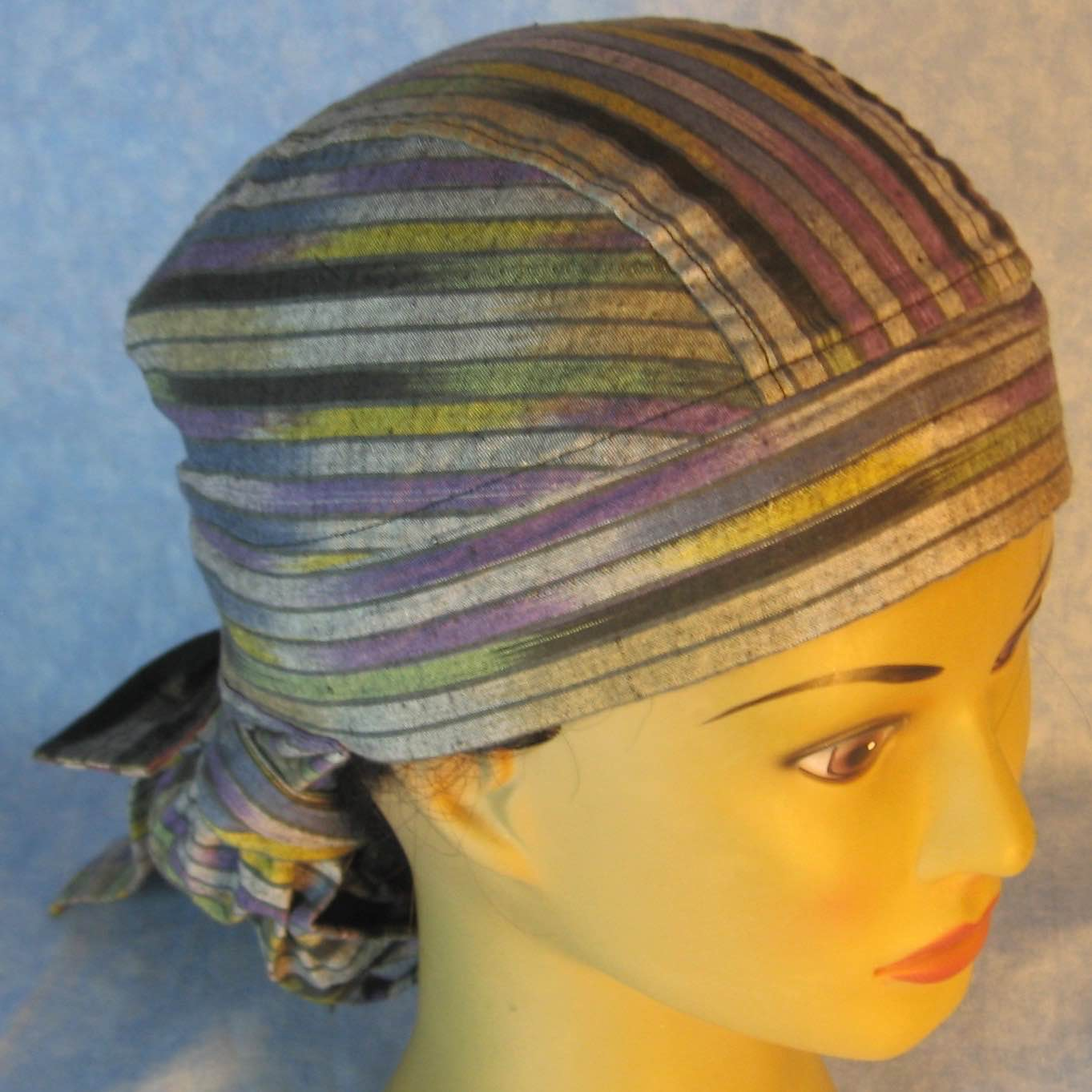 Hair Bag Do Rag in Gray Purple Green Yellow Stripe - Adult M-XL