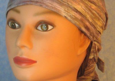 Hair Bag-Lavender Tan Brown Cream Muted Stripe-front