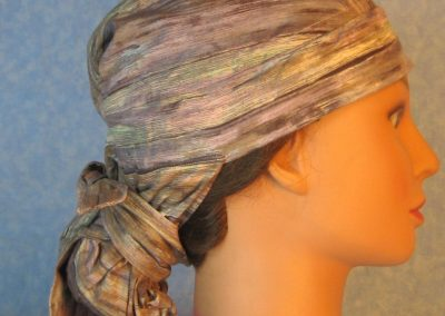 Hair Bag-Lavender Tan Brown Cream Muted Stripe-right