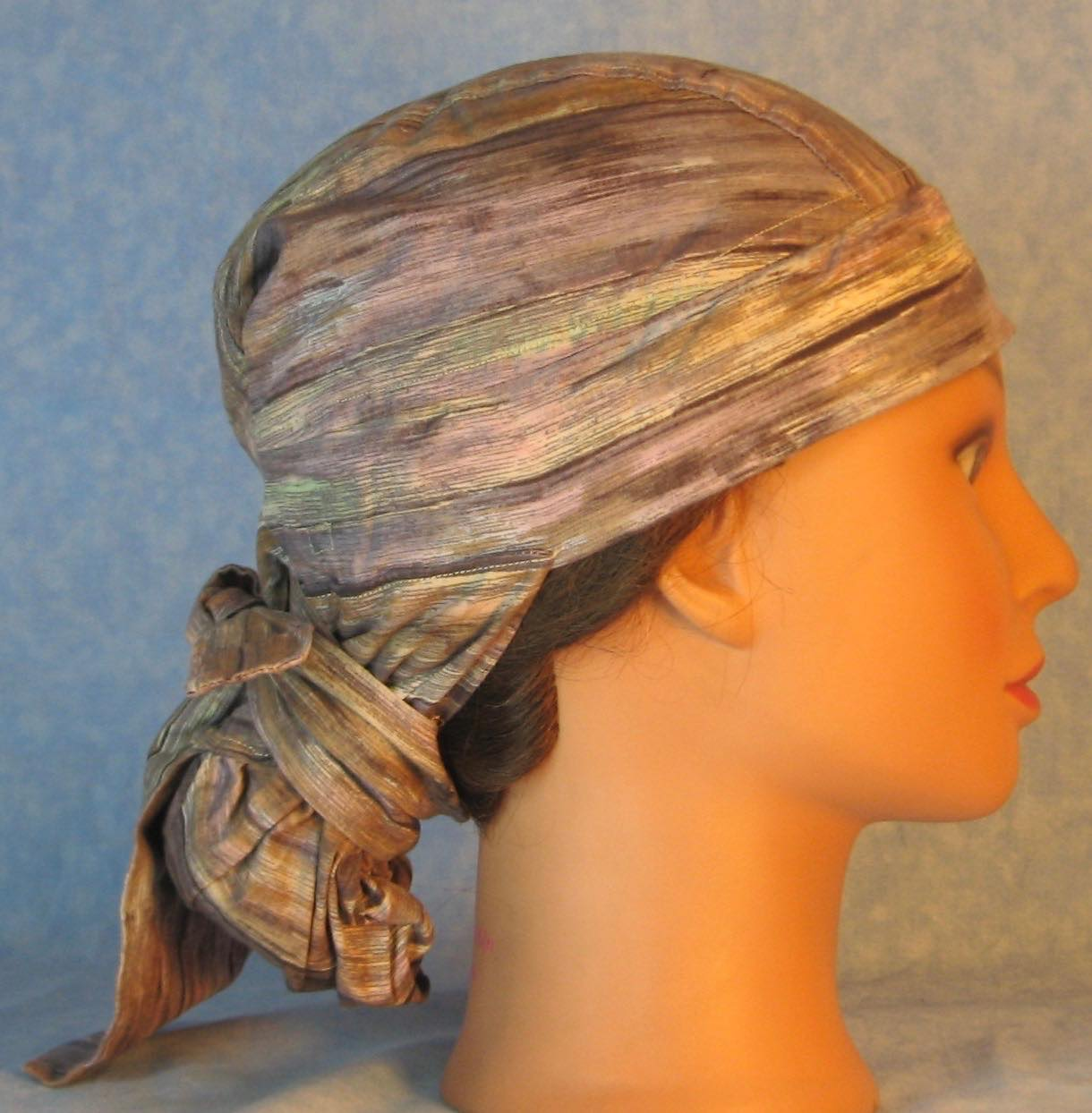 Hair Bag Do Rag in Lavender Tan Brown Cream Muted Stripe - Adult M-XL