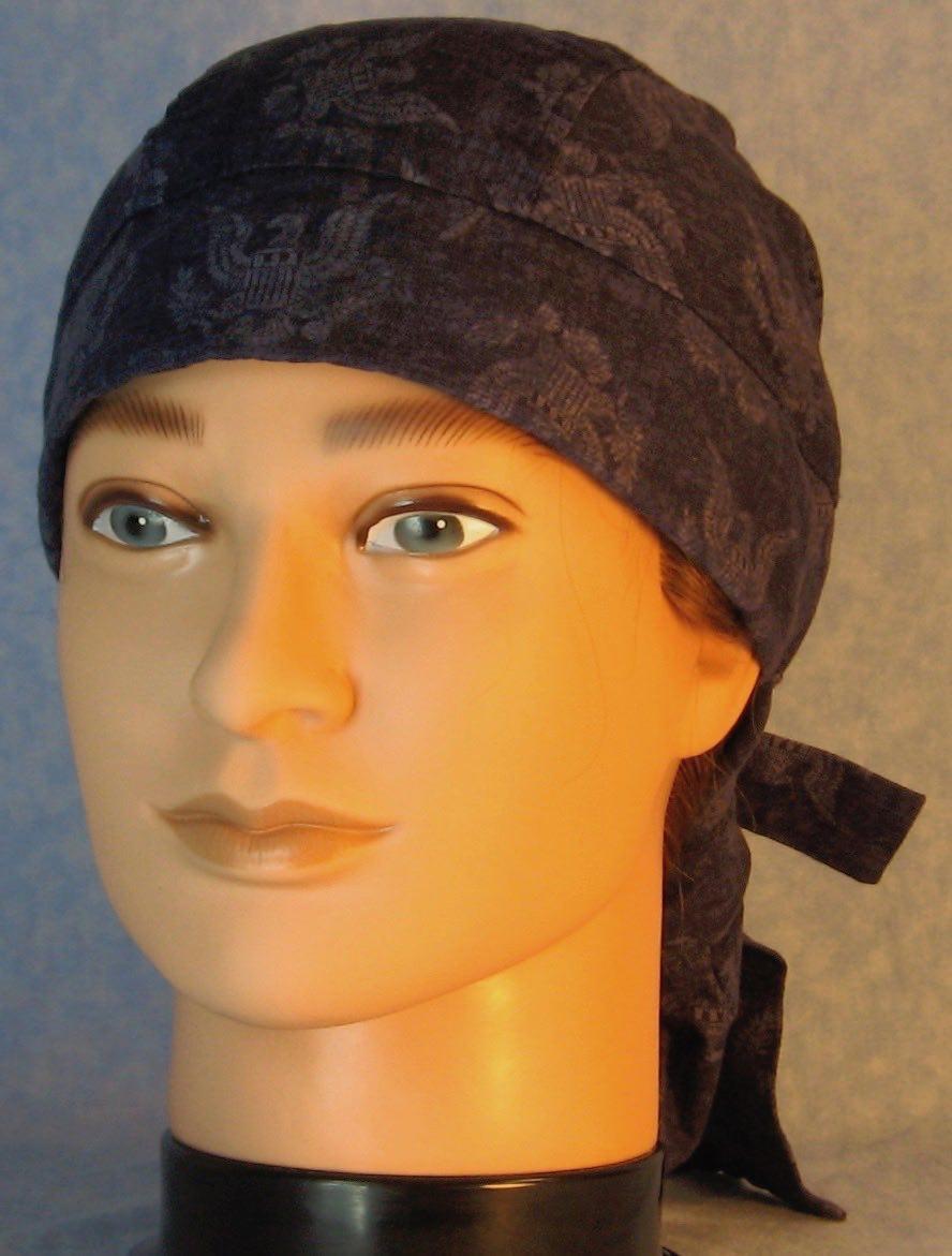 Hair Bag Do Rag in Navy Eagle Figure on Navy - Adult 1XL-3XL