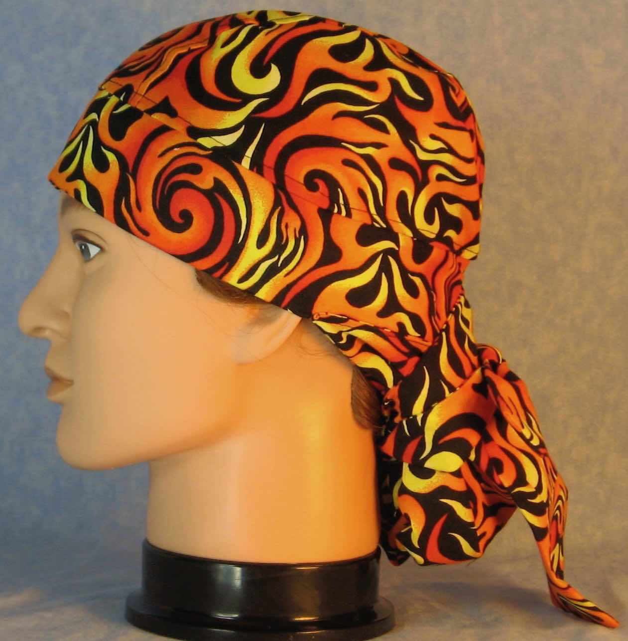 Hair Bag Do Rag in Orange Yellow Flames - Adult M-XL
