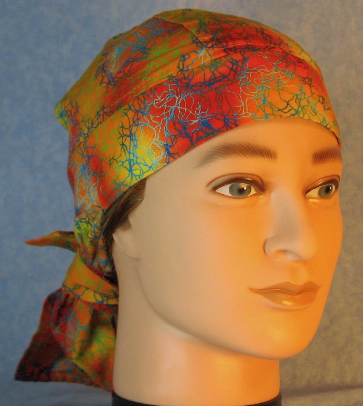 Hair Bag Do Rag in Orange Yellow with Blue Green Lightening - Adult 1XL-3XL