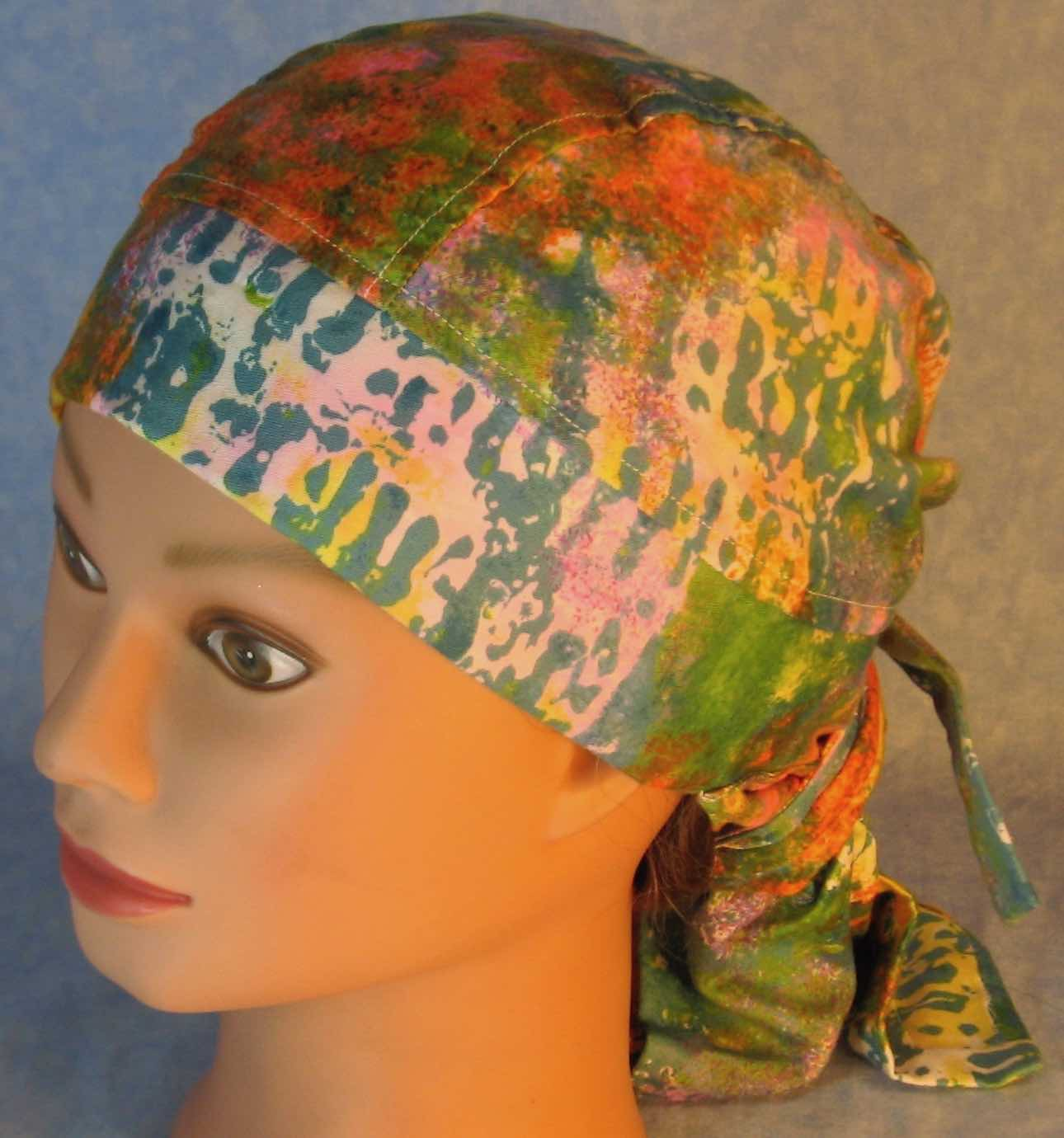 Hair Bag Do Rag in Pastel Sponge Blue Orange Green - Adult 1XL-3XL