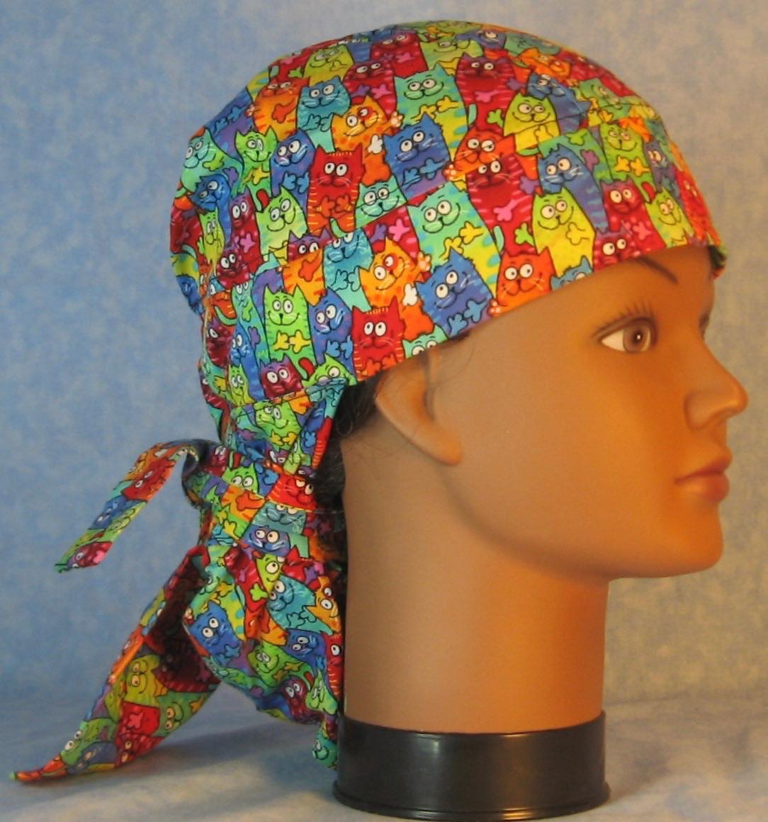 Hair Bag Do Rag in Rainbow Bright Cats - Adult M-XL