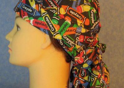 Hair Bag-Rainbow Crayola Crayons on Black-left