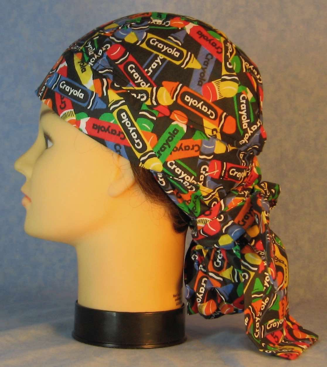 Hair Bag Do Rag in Rainbow Crayola Crayons on Black - Adult M-XL