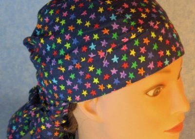 Hair Bag-Rainbow Stars on Navy-top front