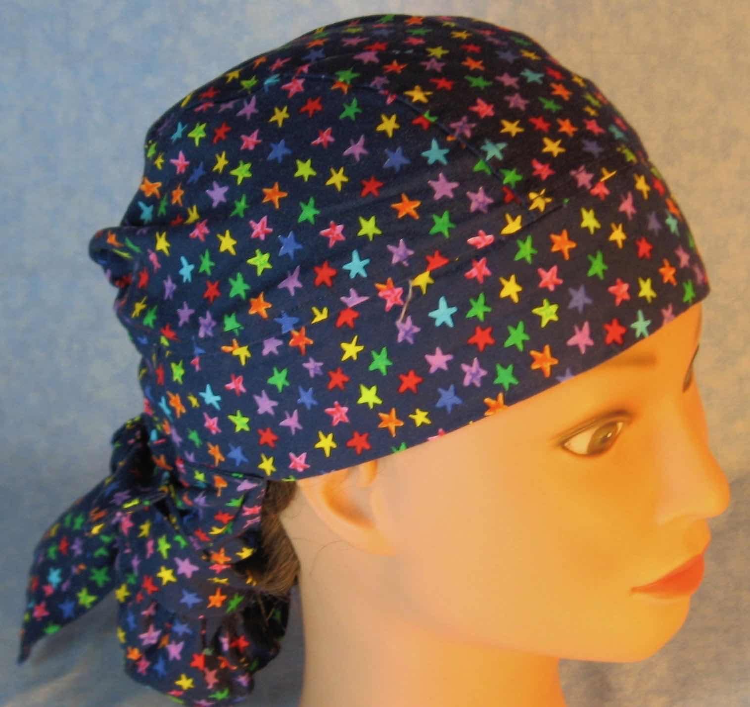 Hair Bag Do Rag in Rainbow Stars on Navy - Adult M-XL