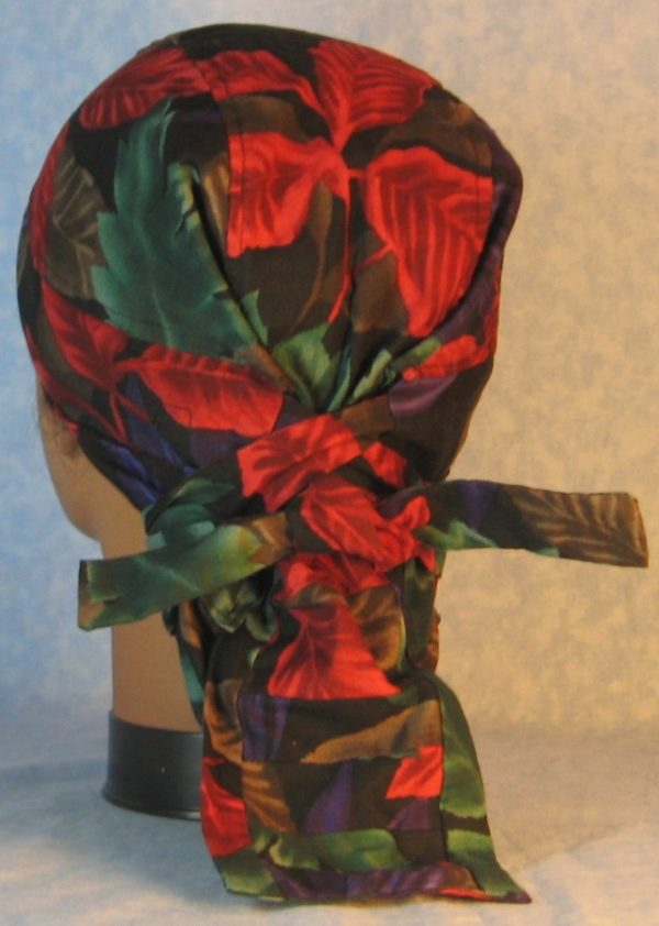 Hair Bag-Red Emerald Purple Brown Leaves-back